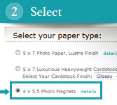 2. Select the 4 x 5.5 Photo Magnet Option